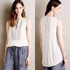 Anthropologie Embroidered Beaded Pasto Tank
